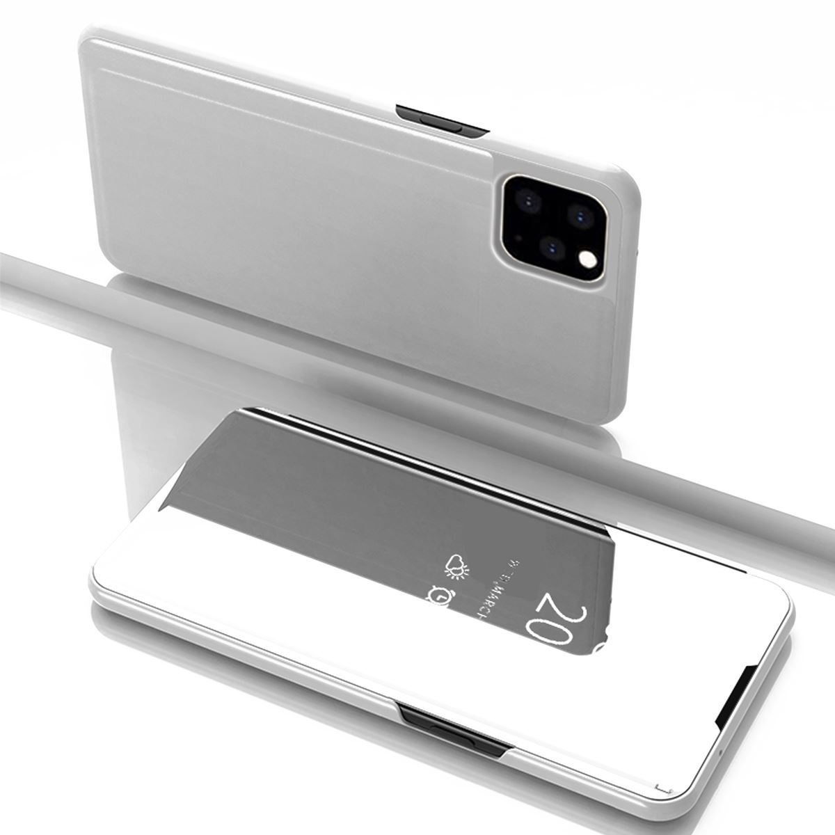 iPhone 11 Case Flip Stand Mirror Cover - Silver
