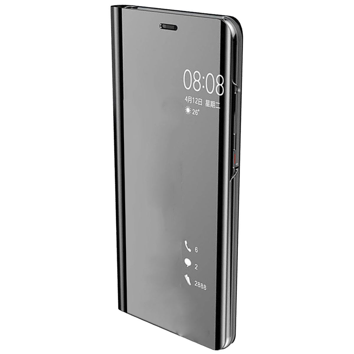 Huawei P30 Case Smart View Mirror Flip Stand Cover - Black
