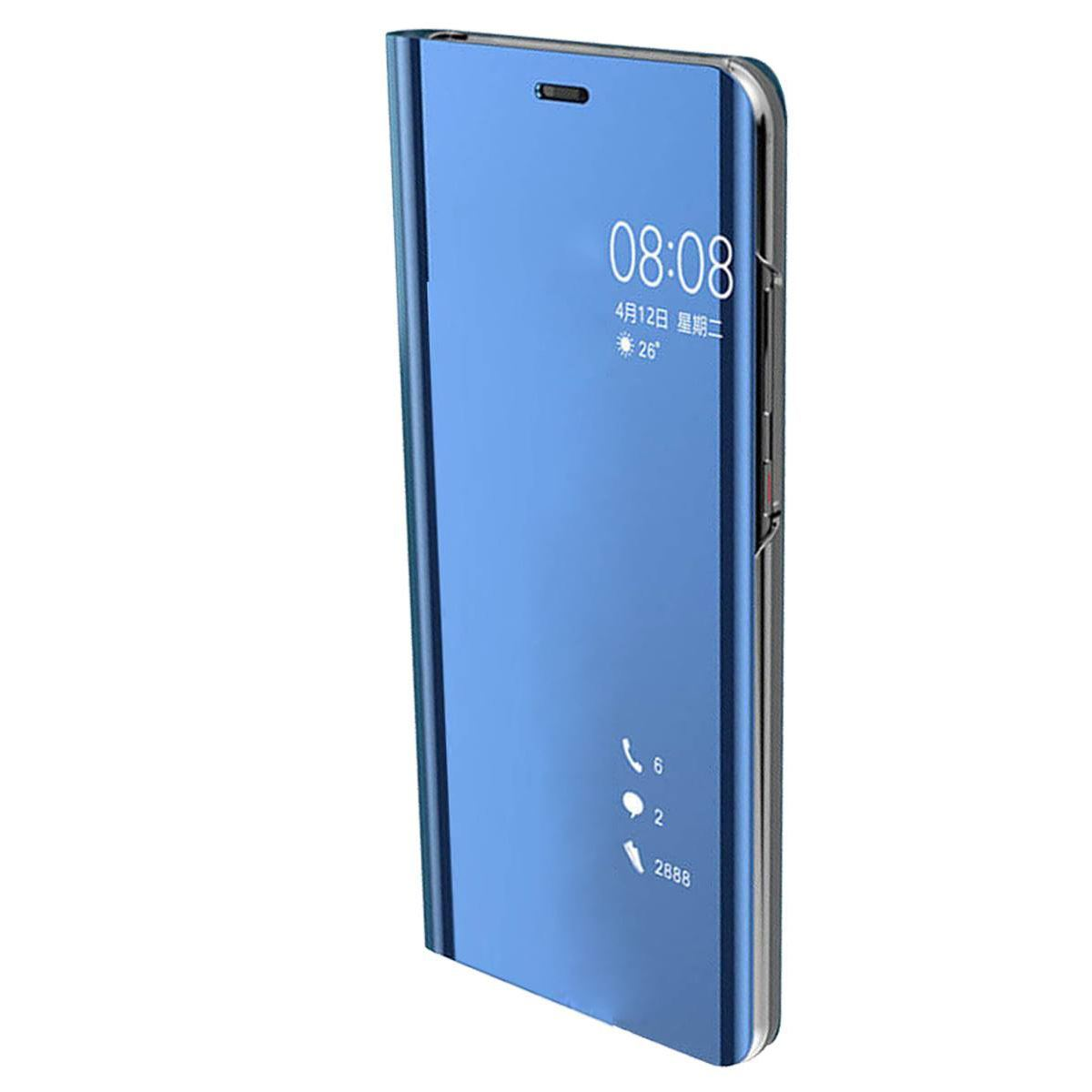 Huawei P20 Case Smart View Mirror Flip Stand Cover - Blue