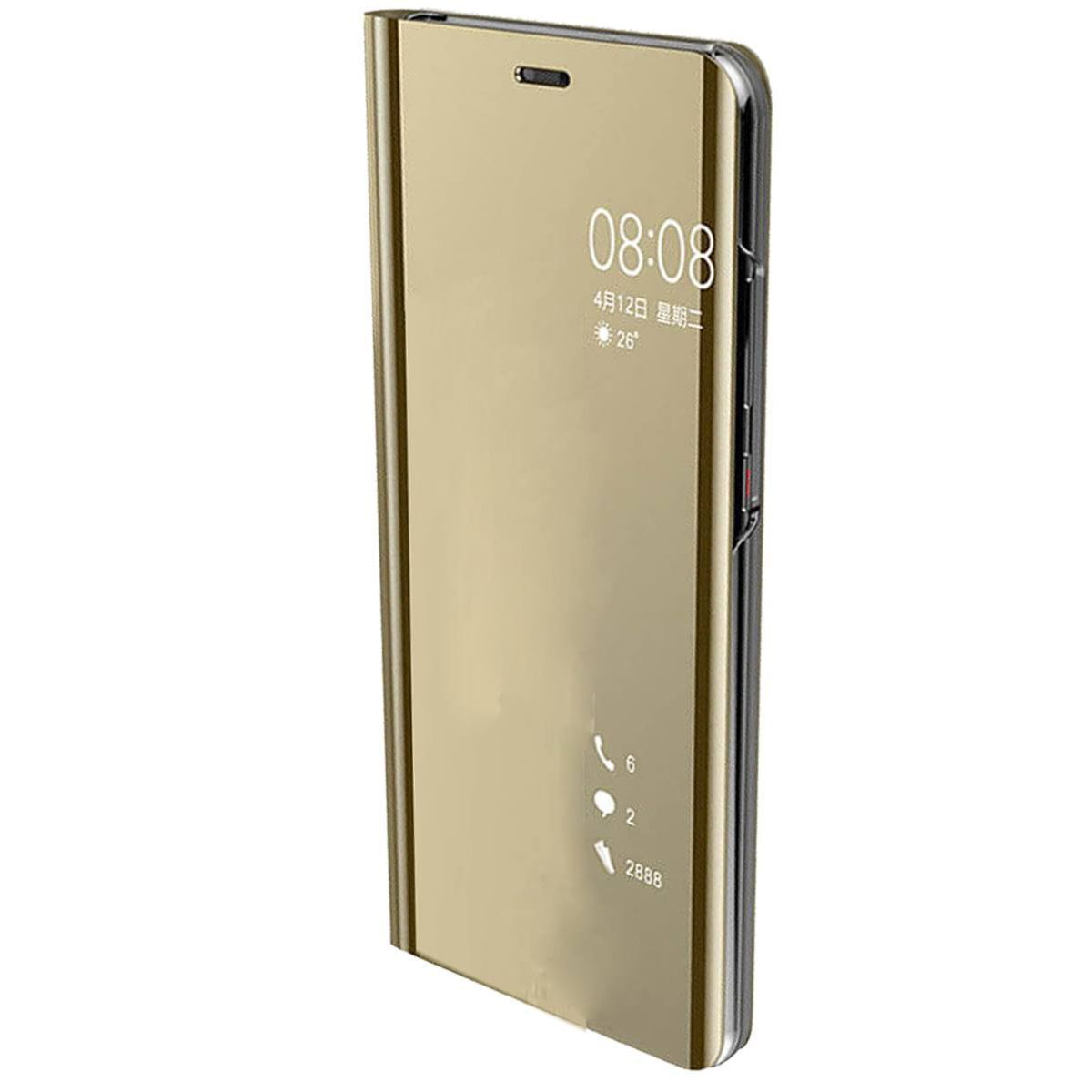 Huawei P20 Case Smart View Mirror Flip Stand Cover - Gold