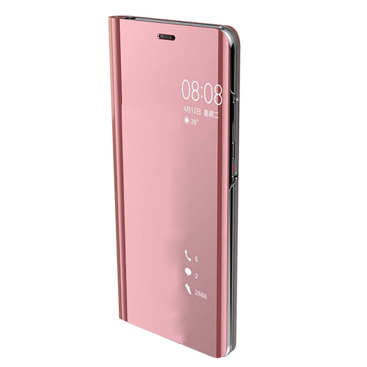 Huawei P Smart Case Smart View Mirror Flip Stand Cover - Rose Gold