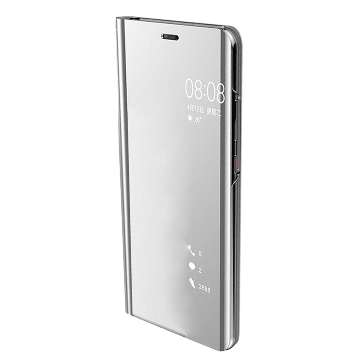 Huawei P20 Case Smart View Mirror Flip Stand Cover - Silver