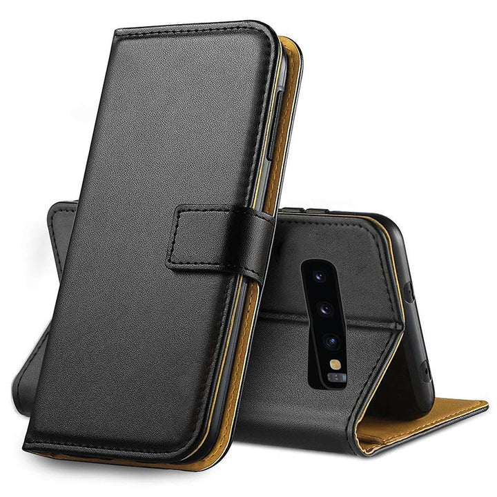 FinestBazaar Wallet Cases Black Samsung S10 Plus Case Leather Flip Wallet Cover