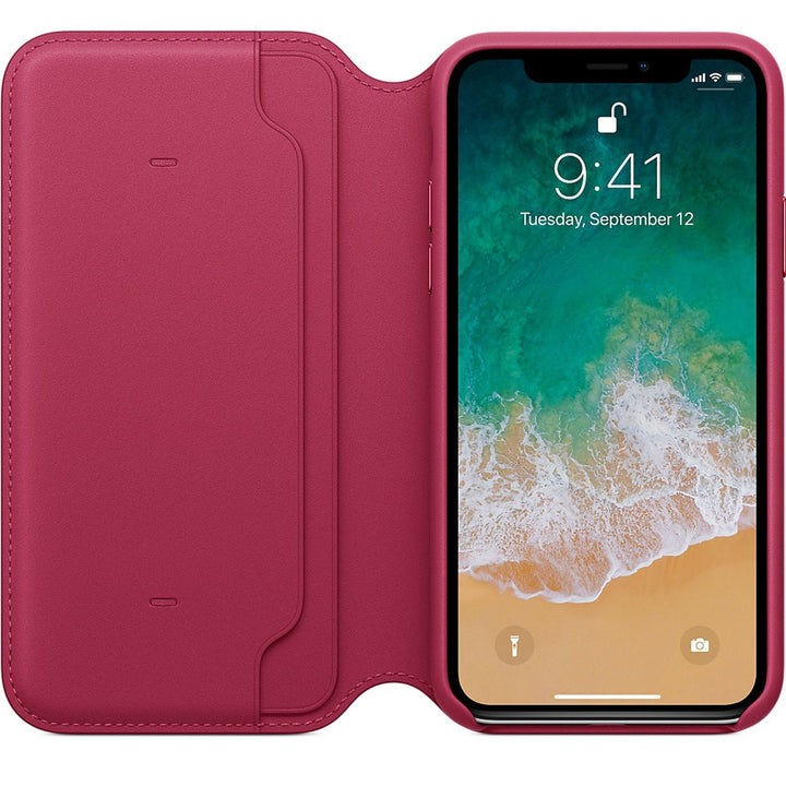 FinestBazaar Wallet Cases Hot Pink iPhone 12 Case Leather Flip Wallet Folio Cover