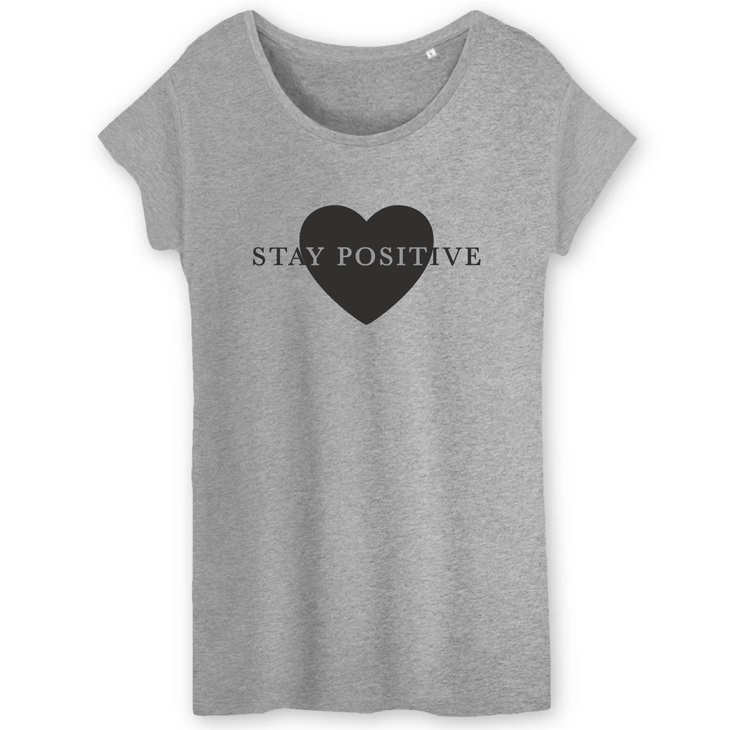 T-shirt STAY POSITIVE Love Gris Femme