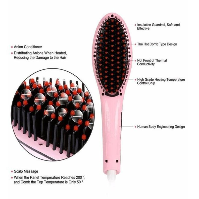 Hair Straightener Comb With Temperature Setting - For Men and Women
