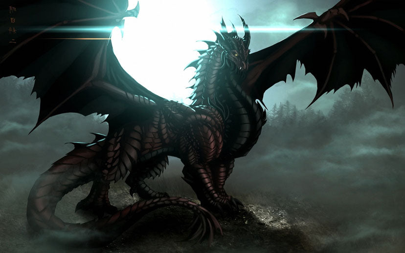 Big black dragon in the forest