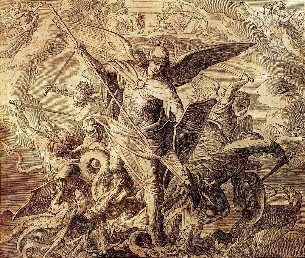 Archangel Michael fighting with dragon