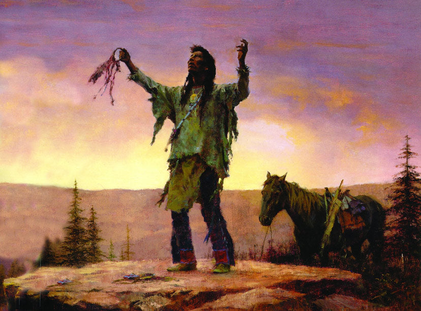A Native American invoking the Great Spirit