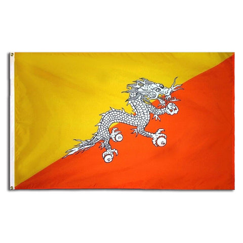 Bhutanese Flag with Dragon