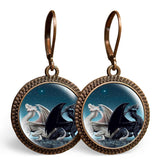 Black and White Dragons Earrings
