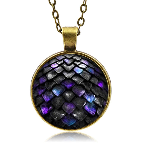 Black Iridescent Dragon Scale Necklace