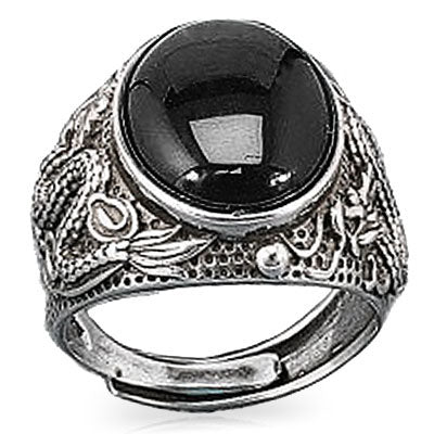 Black Onyx Dragon Ring (Sterling Silver)
