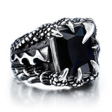Black Stone Dragon Claw Ring (Stainless Steel)