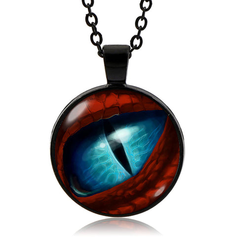 Blue Dragon Eye Pendant (Black finish)