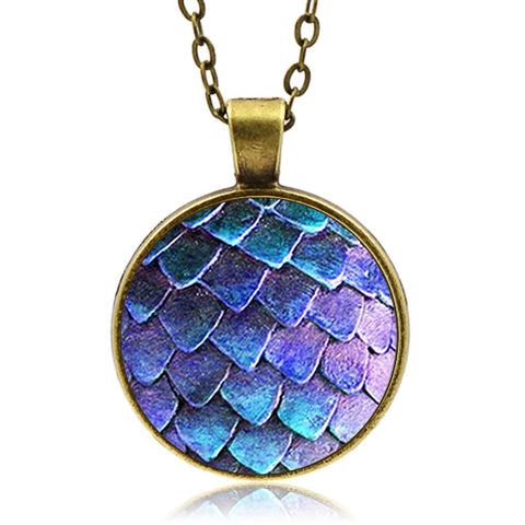 Blue Dragon Scale Necklace