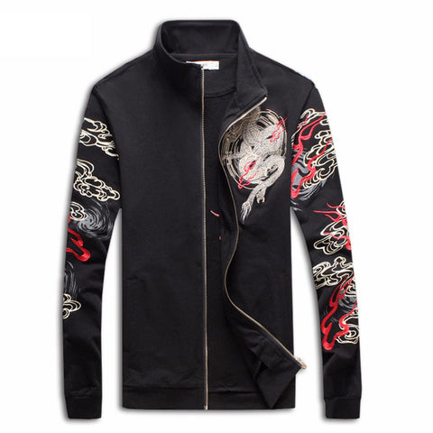 Chinese Dragon Embroidered Jacket (black)