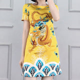 Yellow Chinese Dragon Prom Dress