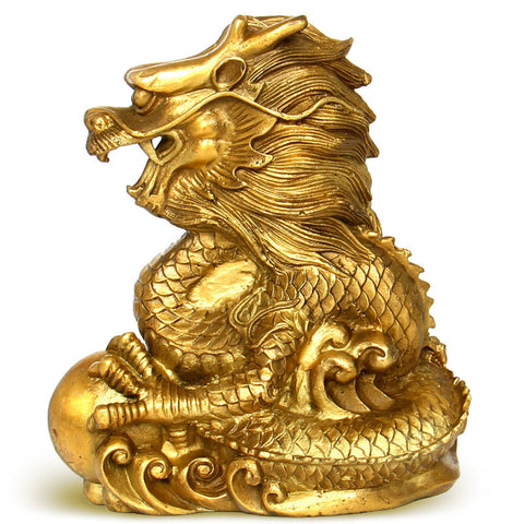 Chinese Dragon Statue with Ball
