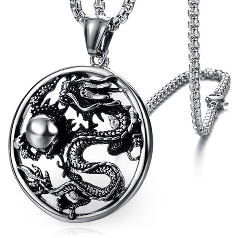 Chinese Mythological Dragon Pendant (Stainless Steel)