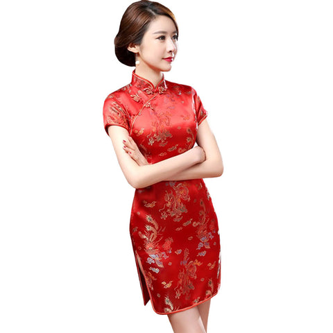 Chinese Red Dress with Dragons (Red)
