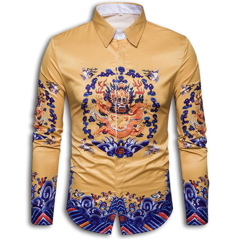 Chinese Style Button<br>Shirt with Dragon