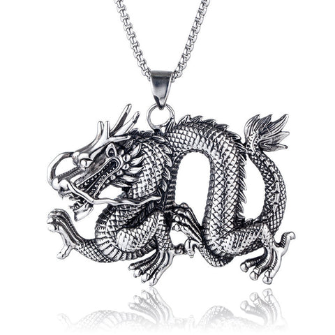 Cool Dragon Necklace (Silver finish)