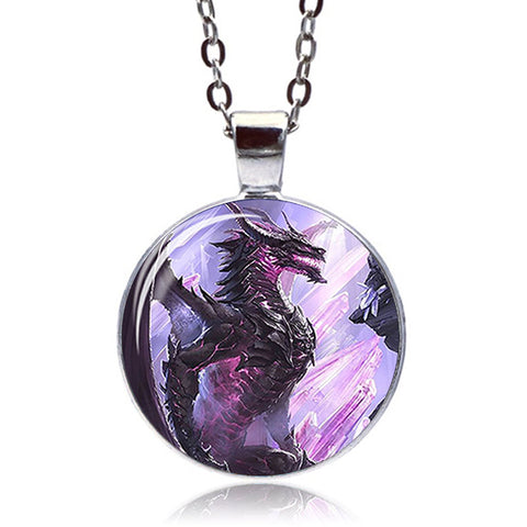 Crystal Dragon Necklace (Silver finish)