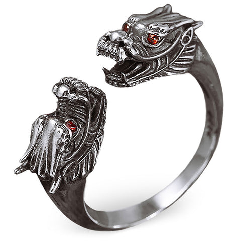 Sterling Silver Double Dragon Head Ring