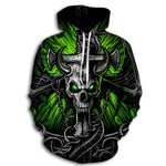 Dragon and Pierced Skull Hoodie