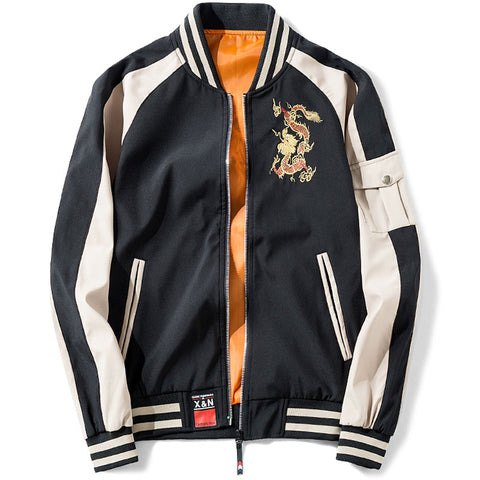 Dragon Baseball Jacket (Grey & Black)