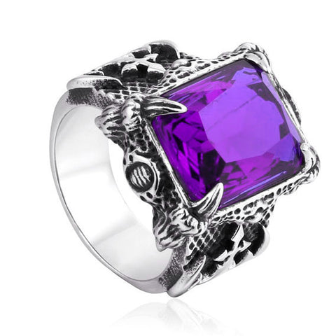 Dragon Claw Ring with a Purple Stone