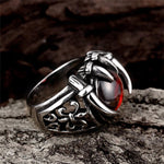 Diabolical Dragon Claw Ring With Red Stone
