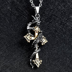 Dragon Cross Necklace (Stainless Steel)