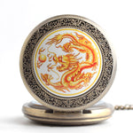 Fire Dragon Engraved Pocket Watch (Quartz)