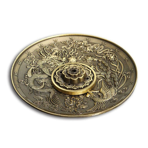 Dragon and Phoenix Incense Burner (bronze)