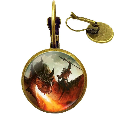 Dragon Rider Earrings (bronze)