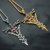 Dragon Sword and Cross Necklace (Stainless Steel)