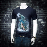 Dragon and Lone Wolf under the Moon T-shirt