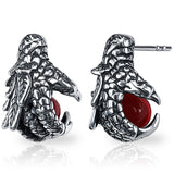 Dragon Claw Earrings with Red Ball (Stainless Steel)