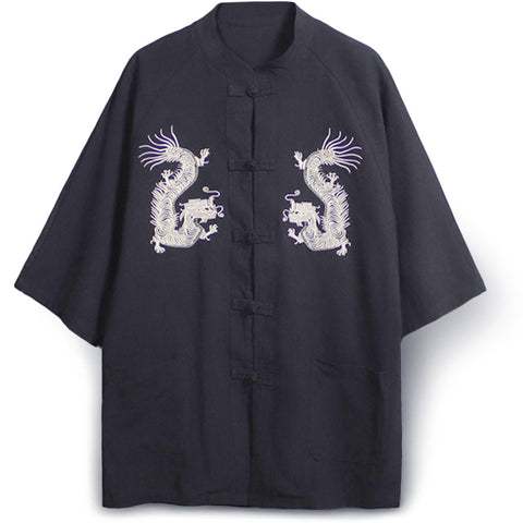 Genuine Embroidered Dragon Kimono (black)
