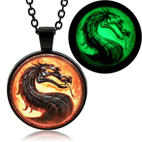 Glow In The Dark Dragon Pendant (Black finish)