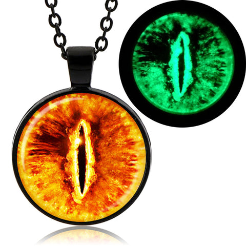 Glowing Dragon Eye Necklace (Black finish)