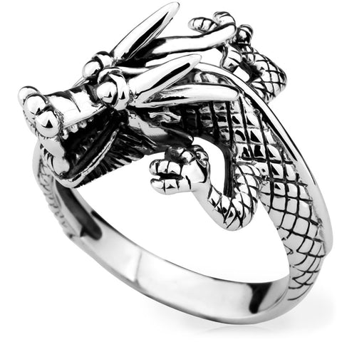 Laughing Good Luck Dragon Ring (Silver)