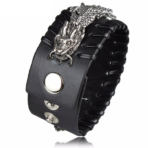 Leather and Metal Dragon Bracelet (Leather)