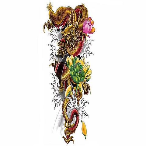 Lotus and Dragon Leg or Sleeve Tattoo