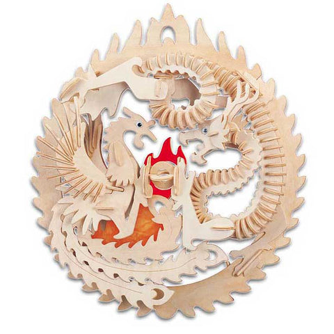 Lucky Dragon and Phoenix Wooden Puzzle
