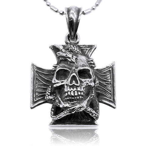 Maltese Cross Dragon Necklace