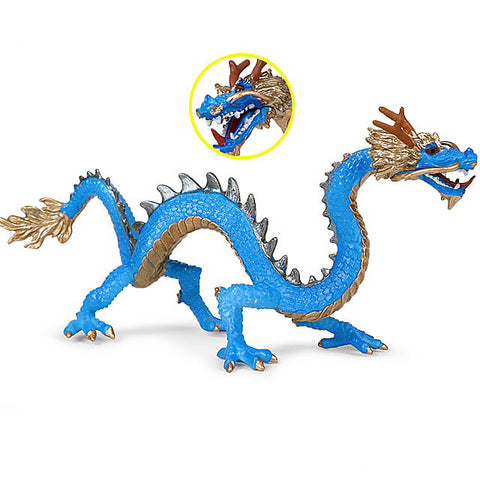 Blue Miniature Chinese Dragon Figurine