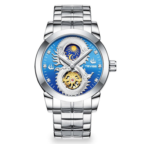 Moonphase Dragon Automatic Watch (Silver and Blue)